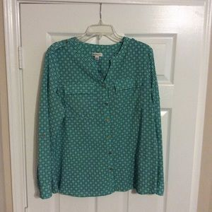 Teal and Navy Long Sleeve Blouse